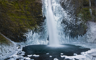 A frozen waterfall is not only beautiful and wondrous but it's amazing for what it represents--a frozen moment in time.